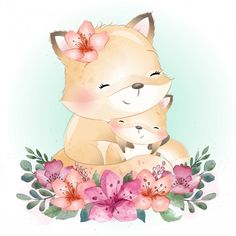 Cute foxy mother and baby Premium Vector Baby Animal Drawings, Cute Drawings, Drawing Sketches, Cartoon Wallpaper, Floral Illustrations, Illustrations Posters, Watercolor Flower Background, Flower Watercolor, Illustration Blume