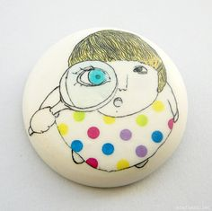 'Atelier Gilet' on Etsy - unique gifts, porcelain jewellery, original wall art and home decor. hand-made creations decorated with fresh and funny illustrations. brooch $25