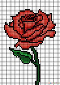 Pixel Art rose pour maman par Tête à modeler Easy Pixel Art, Cool Pixel Art, Pixel Art Grid, Cool Art, Graph Paper Drawings, Graph Paper Art, Art Drawings, Pixel Art Rose, Pixel Art Mignon