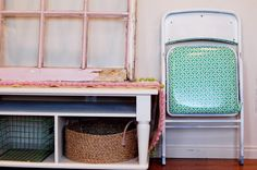 Cute folding chair redo/reupholstered seat/spray paint.  Outdoor picnic