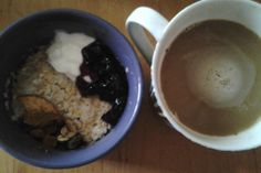 coconut porridge with natur fatless joghurt, blueberry jam, dried apple, raisins, figs, cinnamon and coffee