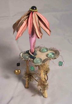 The Princess and the Sea - © 2001 Debbie Schramer - miniature furniture fairies fairytale nature flowers whimsical magical ocean Mixed Media Online Artworks