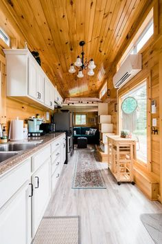 Airbnb Rentals, Tiny House Movement, Shipping Container Homes, Tiny House On Wheels, Tiny Living, Storage Cabinets, Tiny Houses, Home Kitchens, Countertops