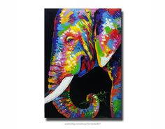 Rainbow Elephant Painting,80x120cm by SumareeART on Etsy