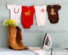 15 Iron On Appliques for Western Theme Baby Shower Activity via Etsy