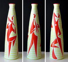 Zsolany jazz motif vases by János Török, c.