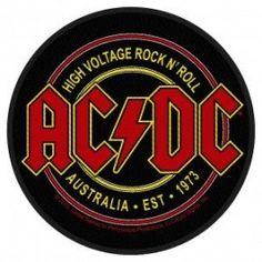 AC/DC high voltage circular Back Patch XLG free worldwide shipping 80s Rock Bands, Cool Bands, Rock Logos, Logo Banda, Black Sabbath, Rockband Logos, Metallica, Rock And Roll, Pochette Cd