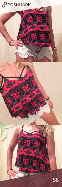 Flowy Tribal Print Crop Tank Flowy Tribal Print Crop Tank. Adjustable straps. Super cute with a strappy bra underneath (like I have it styled with above). Forever 21 Tops Tank Tops