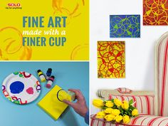 Everyone can be an artist! Pick your colors, paint a canvas and make rings with a cup. #DIY #Painting #Crafts