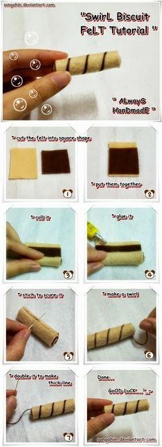 felt swirl biscuit tutorial