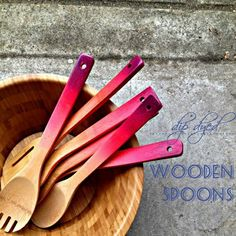 Dip Dyed wooden spoons