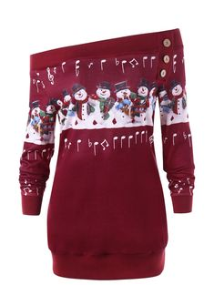 Wipalo Women Autumn Winter Evening Christmas Plus Size 5XL Snowman Off The  Shoulder Sweatshirt Skew Neck Button Printed Pullover 158aed9fa510