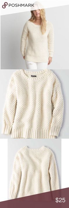 NWT American eagle Textured Boucle Sweater New with tags!  Boucle sweater knit • Relaxed, flattering fit  • Length covers your back pockets and hits mid-zipper on your favorite jeggings  • Crew neck • Ribbed cuffs and hem • Imported • 65% Acrylic, 21% Wool, 5% Nylon, 5% Alpaca, 4% Polyester American Eagle Outfitters Sweaters