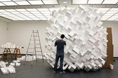This foam block installation looks more like a tear in the time-space continuum.