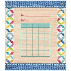 STUDENT INCENTIVE CHART UPCYCLE