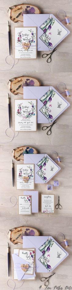 Lavender purple watercolor wedding invitations #purplewedding #lavenderwedding