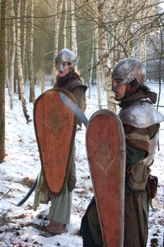 LARP costume - Kite shields, elven helmets...ok, lets here it from all the period Nazis. Whatever ya say it looks cool.