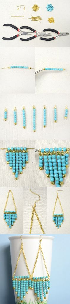 Tutorial on How to Make Sunburst Statement Earrings with Turquoise from LC.Pandahall.com   #pandahall