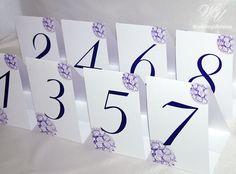 Purple Wedding table numbers with bridal bouquet by WeddingUkraine