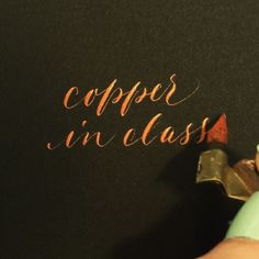 If you're coming to my intro class on 10/24 in San Francisco, you're getting some bonus copper ink in celebration of FALL! I love this time of year  sign up at biancamascorro.com/shop // Hunt 101 nib with copper gouache/pearl-ex combo // #calligraphy