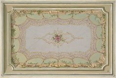 Design for the painted decoration of a ceiling with a trompe l'oeil canopy and roses
