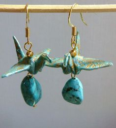 Paper Origami Crane Earrings - (Teal Paper) SOOOO CUTE!!