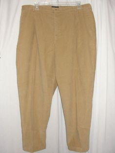 NEW LANDS END Womens Pants Light Camel Brown Corduroy Slacks Size