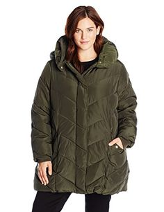 Steve Madden Women's Plus-Size Chevron Packable Puffer Jacket with Hood Plus, Olive, 2X >>> You can get additional details at the image link.