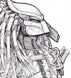 How to draw alien vs predator, step by step, drawing guide, by . Alien Vs Predator, Predator Alien, Alien Drawings, Cool Drawings, Predator Tattoo, Horror Drawing, Desenho Tattoo, Maquillage Halloween, T Rex