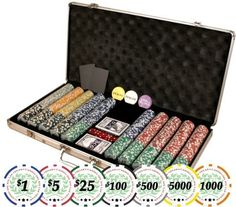 Premium Set of of 750 Casino Del Sol 11.5 gram Poker Chips w/Case, Cards, Dealer Buttons, & 2 Cut Cards by Da Vinci. $74.95. Complete Texas Hold'em set for your poker nights and casino parties.  This premium set of 750 Casino Del Sol chips features 11.5 gram chips with heavy duty aluminum case, 2 decks of playing cards, 5 dice, 3 dealer buttons as shown, and 2 cut cards.  All chips have dollar denominations printed on them.  Set includes:  150 Blue $1 chips, 200 Re...