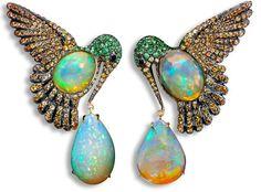 Lydia Courteille. Colibri earrings, orange Mexican opals, orange sapphires, green garnet, blackened gold.