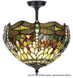 """EXTRA-Modell! 30ø kurze TIFFANY-Pendel-Lampe (bronzefarbene Rosette mit sichtbar aufwändiger Verzierung), unsere umfangreiche Serie DRAGONFLY-GREEN.  30cm ø, 38cm hoch. 2 x E-27, je 60W.   ...wir empfehlen kleine runde Leuchtmittel.  aus unserer Serie der Meisterklasse = teure TIFFANY-Gläser u.a. in den Farbtönen Bronze-Finish und ausgesuchten Grün-Farbtönen wurden hier sorgfältig per hand zusammengefügt, ergänzt um schmückende eingearbeitete """"Jewels"""""""