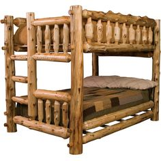 Cottage Full Over Full Log Bunk Bed