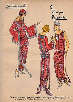 1923 ''Les Idees Nouvelles de la Mode'' ad by Radiah - 3 beautiful embroidered and beaded gowns with long tasseled belts to the ankles - sleeveless, bell sleeve and kimono sleeve.  Fitted skullcap hats  with shoulder-duster tassels (not earrings)