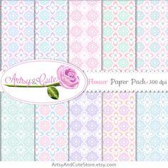 Flowers Digital Paper Pastel Pink Mint Blue by ArtsyAndCuteStore #digital #paper #shabbychic #flower #pink #mint #blue #purple #pastel #color