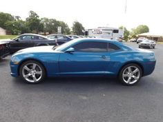 2010 Camero Blue with White Racing Stripes - LOVE this color combo!