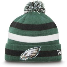 NFL Philadelphia Eagles Sport Knit Hat by New Era. $22.99. 100% Acrylic Fleece Lining. This New Era NFL On Field Collection Sport Knit features an embroidered Phildelphia Eagles team logo at front, a stitched New Era flag at wearer's left side and the NFL Shield embroidered on the back.