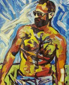The Dad. By RD Riccoboni acrylic painting. #gayart #bears #beardo #beardedartist #beardporn #gayillustration #gaymuscule