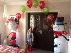 Santa and Snowman Balloon Arch #santa #snowman #christmas