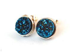 Blue Titanium Druzy Quartz Stud Earrings Wire by WrennJewelry, $25.00