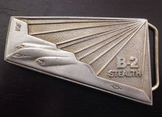 Vintage 1988 Pewter Stealth Bomber B-2 Belt Buckle Connection Northrop USAF  | eBay