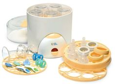 The First Years All Purpose Steam Sterilizer A convenient and smart way to make sure your baby's pacifiers, nipples, bottles and tableware are completely safe and always ready for the next meal.  Made in USA.