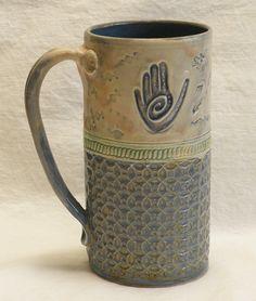 healing hand - handmade ceramic coffee mug stoneware from desertNOVA on Etsy. Saved to pottery. Slab Pottery, Pottery Wheel, Pottery Mugs, Ceramic Pottery, Pottery Art, Clay Mugs, Ceramic Clay, Handmade Pottery, Handmade Ceramic