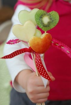 Cute, healthy Valentines day treats and food.
