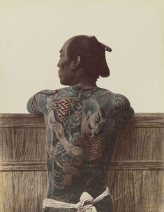 Kusakabe Kimbei - Japanese Tattoo - Original old vintage retro Photography from Japan - Photo of Sa Framed Art Print by ArtExpr Japanese Tattoo Designs, Japanese Tattoo Art, Japanese Sleeve Tattoos, Japanese Art, Traditional Japanese, Japanese Culture, Traditional Tattoo, Historical Tattoos, Rare Historical Photos