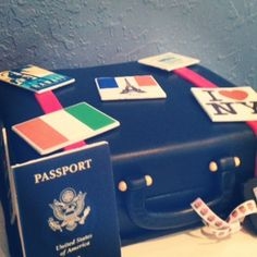 Travel Themed Cake made by Pink Pig Bakery in Orlando, FL Passport is edible! www.facebook.com/pinkpigbakery.com