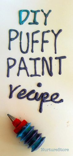 homemade puffy paint recipe - easy, ready in 2 minutes, no mincrowave needed - great for sensory play!
