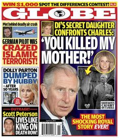 GLOBE: Princess Diana's Secret Daughter Alleges Prince Charles Responsible For Her Mother's Death