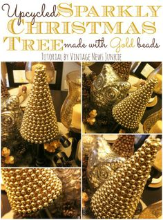 Upcycled Sparkly Christmas Tree Made With Gold Beads {tutorial By Vintage News Junkie} #12Daysoftrees