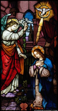 The Annunciation,Religious Stained Glass Window Stained Glass Church, Stained Glass Art, Stained Glass Windows, Stained Glass Patterns, Catholic Art, Religious Art, Religious Paintings, Blessed Mother Mary, Blessed Virgin Mary
